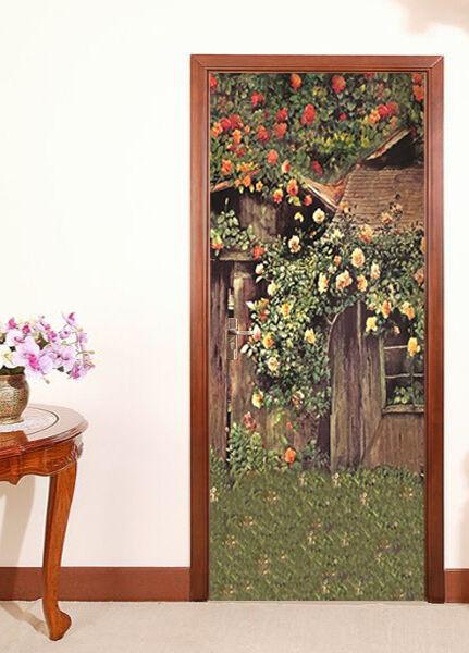 3D Haus Blaumen Tür Wandmalerei Wandaufkleber Aufkleber AJ WALLPAPER DE Kyra | Kostengünstiger  | Elegante und robuste Verpackung  | Deutschland Berlin