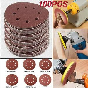 "5/"" Velcro Sanding Discs 40 60 80 120 240 Grit Orbital Sander Pads 50-125mm"