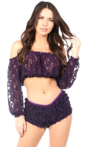 Womens Fashion Plum Sheer Lace Long Sleeve Peasant Crop Top ~ Plus Size Too