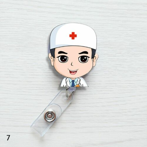 Retractable Badge Reel Nurse Exihibiton ID Name Card Badge Holder Cute Clips~