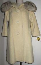 Vintage Tissé a Paris Lilli Ann Cream Mohair Wool Swing Fox Collar Coat Small