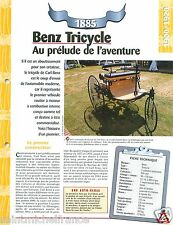 Benz Tricycle Daimler-Benz 1 Cyl. 1885 Germany Car Auto Retro FICHE FRANCE