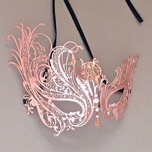 Noir Cuivre Roman /& glamour rose en métal doré paire Masquerade Anniversaire Masques
