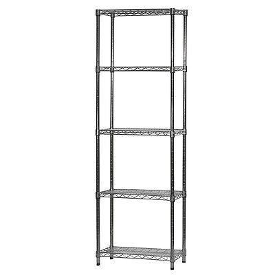 "18/""d x 54/""h Radius Corner NSF Metal Chrome Wire Shelving Rack with 3 Shelves"
