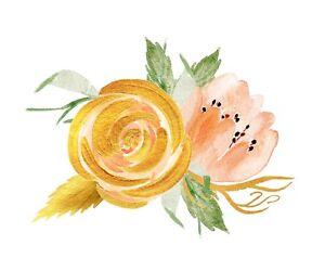 Rose sticker // die-cut watercolour decal // boho, bohemian, peach, gold,  flower | eBay