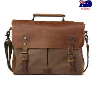 Vintage-Men-039-s-Leather-Canvas-14-034-Laptop-Satchel-Shoulder-Bag-Tote-Work-Briefcase