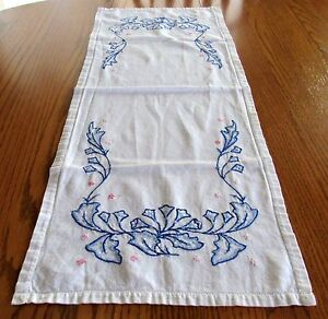 Vintage Hand Embroidered Dresser Scarf White Blue 14 X 34 Inches