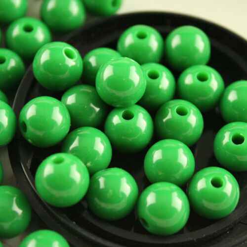 100p 10mm Round Acrylic Spacer Loose Beads Crafts DIY Beaded Jewelry findings