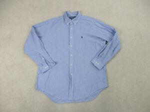 Ralph-Lauren-Polo-Button-Up-Shirt-Adult-2XL-XXL-Blue-White-Pony-Casual-Mens-B60