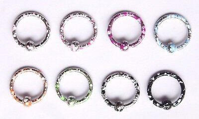 16g Speckled Colored Paint Flecked Earring Hoop Captive Bead ring CBR Nipple Bar