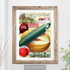 Verdura da cucina vintage art print poster ILLUSTRAZIONE Cibo ...