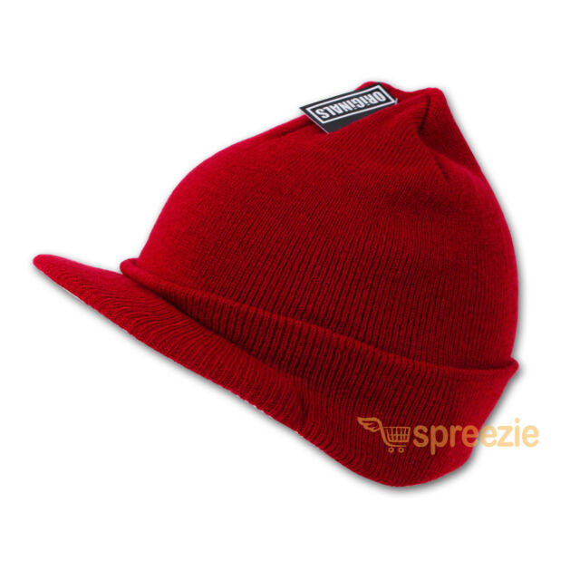 c590c0b001a Red Beanie Visor Knitted Skull Cap Hat Colors Wam Winter Ski Snow Headwear  New