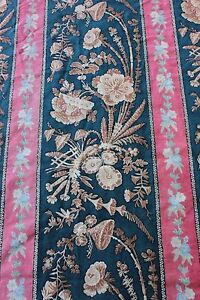 Antique-French-Hand-Blocked-19thC-Chinoiserie-Printed-Fabric-Textile