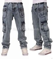 Peviani Mens Boys Acid Cargo Combat Wash Star Jeans Time Is Hip Hop Money A.Ford