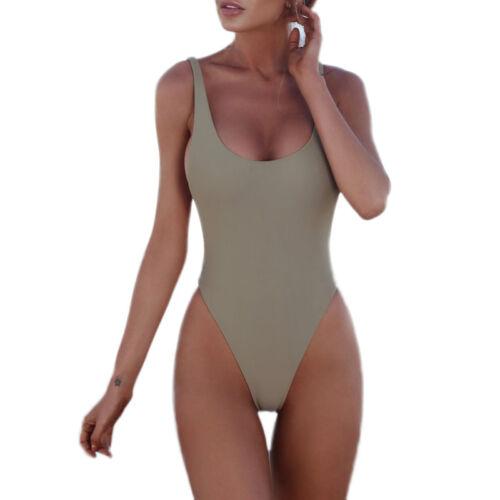Damen Push up Einteiler Schwimmanzug Sporty Gepolstert Bikini Monokini Bademode