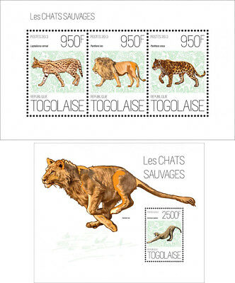 Groß Wild Cats Wilde Katzen Löwen Löwen Tiger Tieren Fauna Togo Mnh Stempelset Bracing Up The Whole System And Strengthening It