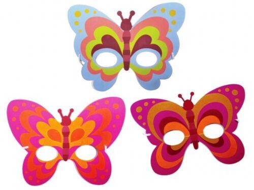 FANCY DRESS PARTY BAG FILLER FACE MASK X 24 GIRLS BUTTERFLY DRESS UP FOAM MASKS