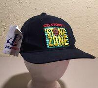 Vtg Keystone Stone Zone Logo Athletic Collectible Beer Snapback Black Hat Cap