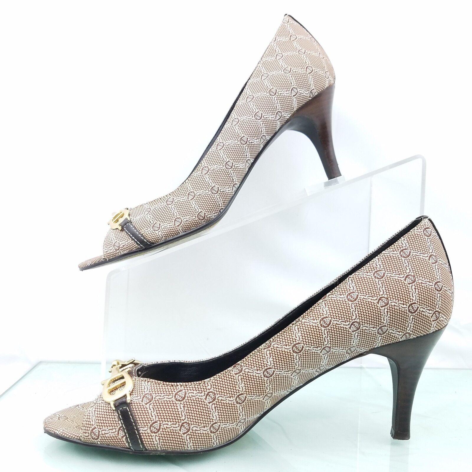 Aetienne Toe Aigner Womens Cherise Peep Toe Aetienne Pump Horse Bit Leather/Fabric Size 7.5 M b6b47b