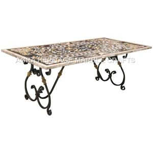 Details about  /Black Marble Coffee Top Table Inlay Marquetry Design Home Decorate Garden H2976