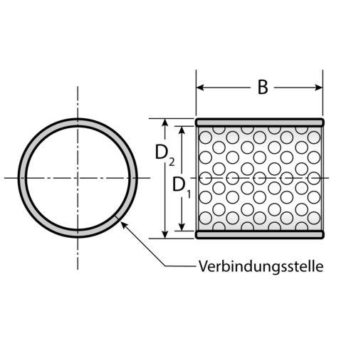 25 Gleitlager 1010 10 x 12 x 10 mm wartungsarm ohne Bund