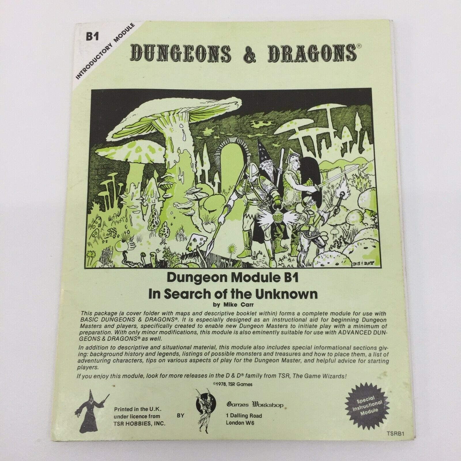 TSR TSR TSR DUNGEONS DRAGONS IN SEARCH OF THE UNKNOWN GAMES WORKSHOP PRINTING TSRB1 1978 fa5616