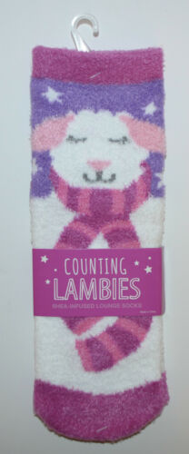 NEW BATH BODY WORKS PURPLE COUNTING LAMBIES LAMB SHEEP SHEA INFUSED LOUNGE SOCKS