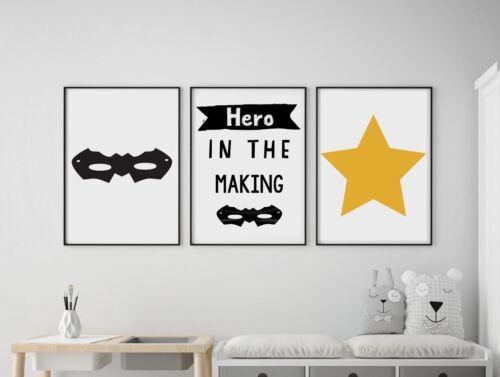 Set of 3 Hero In The Making Star Kids Room Wall Art Prints Black /& White Yellow