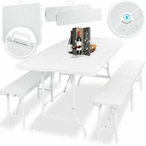 KESSER-Bierzeltgarnitur-Set-Rattan-Festzeltgarnitur-klappbar-Campingtisch-180cm