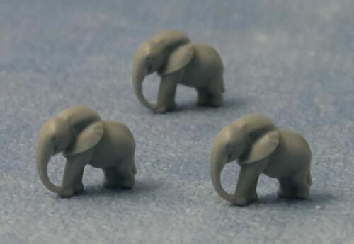 3 Small Grey Elephants Miniature Animals. Dolls House Miniatures