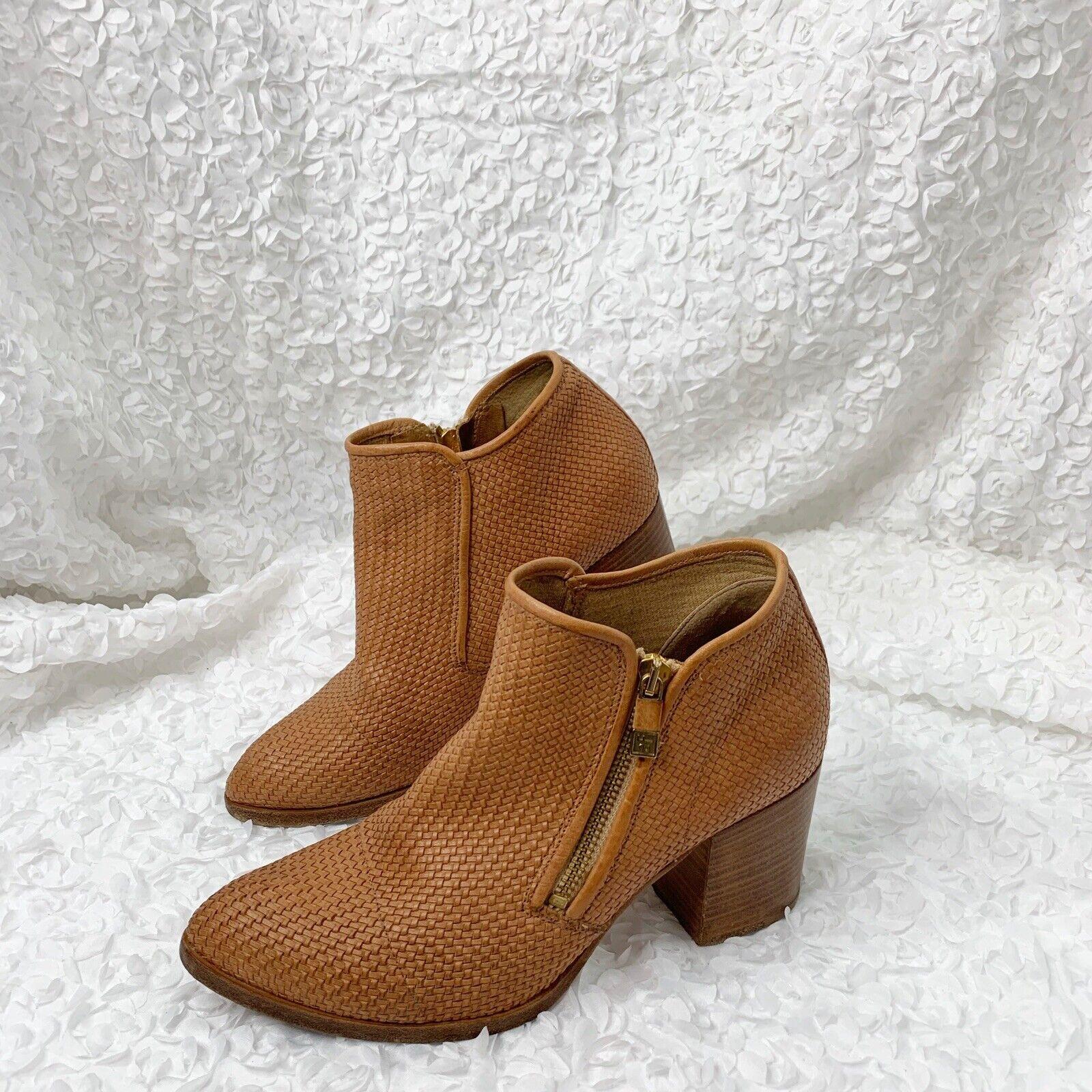 Alberto Fermani Cognac Tan Leather Woven Booties 9