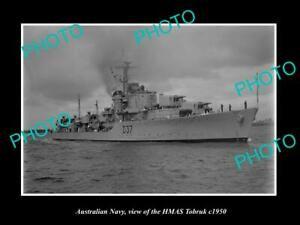 OLD-8x6-HISTORIC-PHOTO-OF-AUSTRALIAN-NAVY-SHIP-HMAS-TOBRUK-c1950
