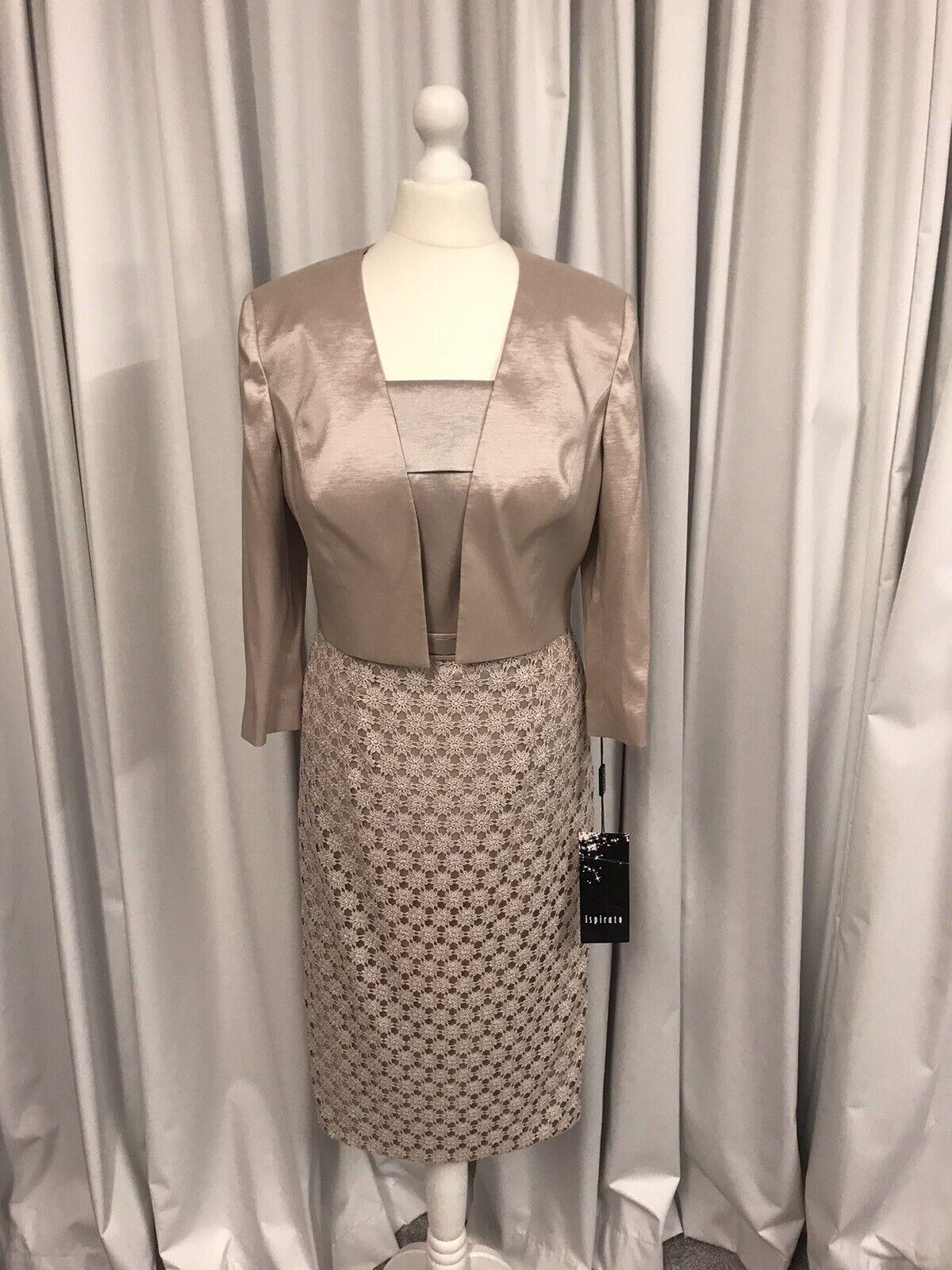 Ispirato IY961, Dress & Jacket, Mother Of The Bride, Noisette UK10