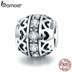 BAMOER-S925-Sterling-silver-Charm-Listening-to-love-With-CZ-Bead-For-bracelet