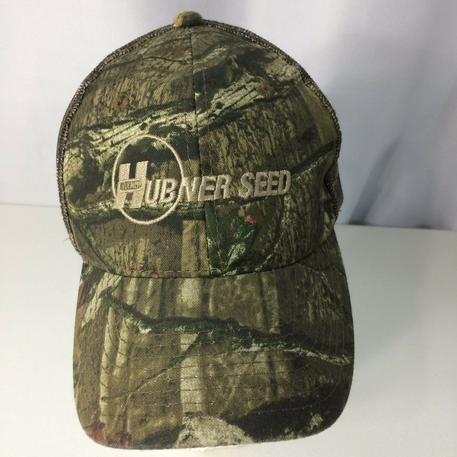 Vintage Green Camouflage Hubner Seed Baseball Green Vintage Cap One Size Fits Most Adjustable 928b6e