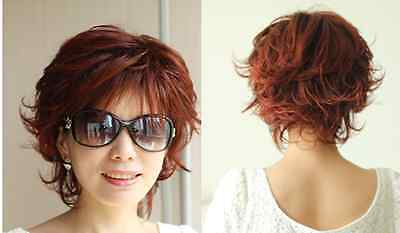 """New women""""s red  mix short  straight curly   cosplay  full  wig"""