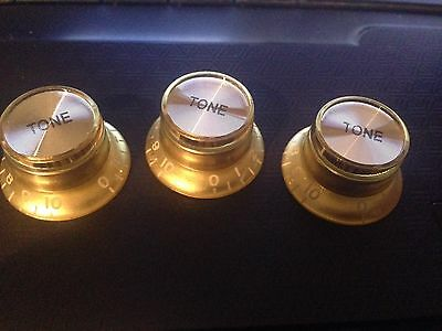 Bell Shaped Tone Control Knob For Lp Epiphone Gold With Silver Caps 6 Available