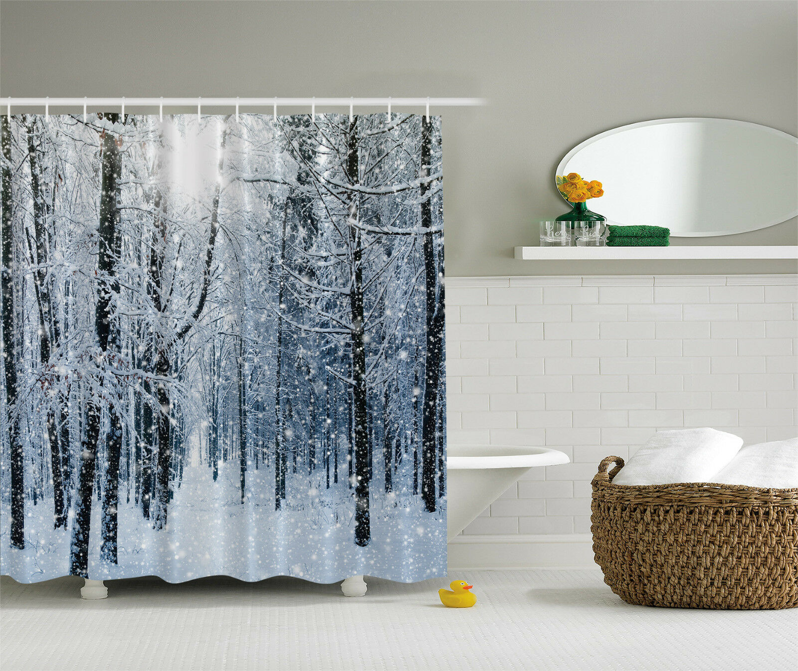 Snow Shower Curtain Fabric Christmas Winter Tree Forest