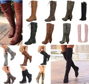 Military-Riding-Boots-Womens-Over-Knee-Thigh-High-Block-Heel-Lace-Up-Shoes-Boots
