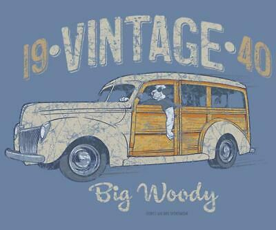 Vintage 1940 Woody Station Wagon Big Dogs T Shirt 2X 3X 5X 6X Denim Blue Cotton