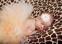 Baby Girl Newborn Tulle Tutu Headband Photo Accessories Cream Outfit 0/6m
