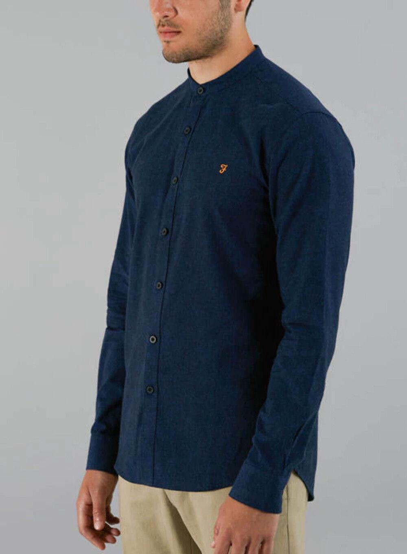 Farah The Steen Grandad Slim Fit Shirt - True bluee