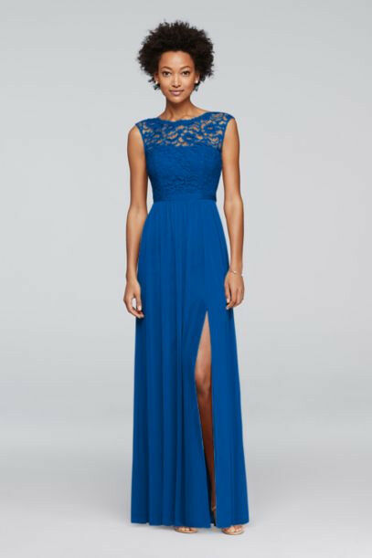 blå Long Bridesmaid Dress with Lace Bodice Storlek