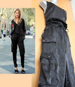 BNWT-NEXT-Black-Sleeveless-Side-Pockets-Silky-Jumpsuit-UK-12-EU-40-Regular