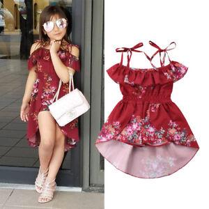512a92ccaa00a Details about US Infant Toddler Baby Girls Kids Floral Off Shoulder Romper  Jumpsuit Dresses