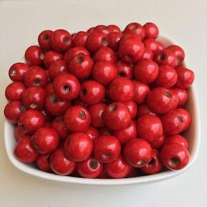 50X-Red-Wood-Beads-12x11mm-Round-DIY-Jewellery-Making-Macrame-Craft-Wooden-Bead