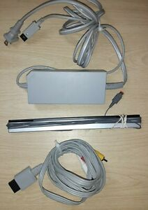 Official OEM Nintendo Wii Power Supply AC Adapter + Wired Sensor Bar + AV Cables