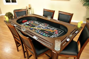 Burlington-Game-Table-3-in-1-Poker-Tables-Suede-w-6-Chairs-FREE-Shipping