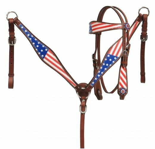 Showman Pony Size Beautiful American flag headstall and breast collar set