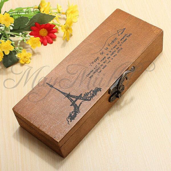Retro Eiffel Tower Wood Wooden Pen Pencil Case Holder Stationery Box Storage N